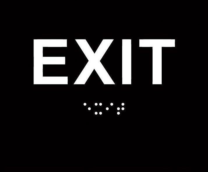 Black Exit Route ADA-Braille Sign